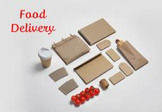 Composition with items for mock up design on light background. Food delivery service stock photography