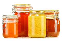 Composition with jar of honey on white Stock Photos