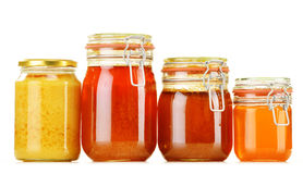 Composition with jar of honey on white Royalty Free Stock Photography