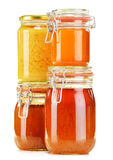 Composition with jar of honey on white Stock Image