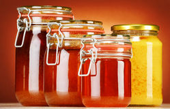 Composition with jars of honey Stock Image