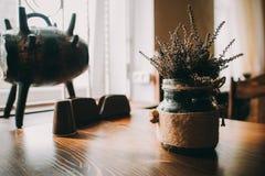 Composition of jars od desk. Blurred background Stock Photo
