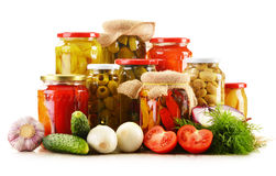 Composition with jars of pickled vegetables Royalty Free Stock Photo