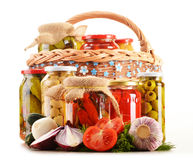 Composition with jars of pickled vegetables Royalty Free Stock Photography
