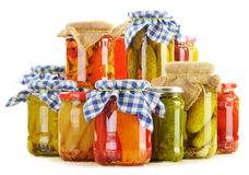 Composition with jars of pickled vegetables Royalty Free Stock Images
