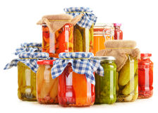 Composition with jars of pickled vegetables Royalty Free Stock Photos