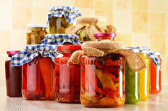Composition with jars of pickled vegetables. Marinated food Royalty Free Stock Photo