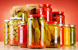 Composition with jars of pickled vegetables. Marinated food Royalty Free Stock Photography