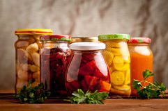Composition with jars of pickled vegetables. Stock Image