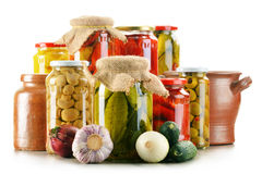 Composition with jars of pickled vegetables. Marinated food Stock Photography