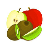 Composition of juicy apple and kiwi. Ripe vector kiwifruit  apples fruits whole  slice appetizing looking. Group  tasty Royalty Free Stock Photography