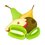 Composition of juicy pear and kiwi. Ripe  kiwifruit and pears fruits whole and slice appetizing looking. Group of tasty frui. Ts for design packaging of juice Royalty Free Stock Images