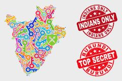 Composition of Key Burundi Map and Distress Indians Only Watermark. Security Burundi map and seal stamps. Red rounded Top Secret and Indians Only grunge seal vector illustration