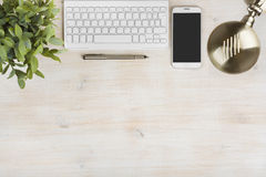 Composition of keyboard, telephone, table lamp, plant and ink pen Stock Photo