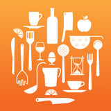 Composition with kitchen utensils silhouettes Stock Photography