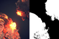 Composition with large explosions in dark 3d rendering. Composition with large explosions and black smoke in dark plus alpha channel. 3d rendering Stock Photography