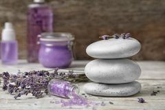 Composition with lavender flowers, spa stones royalty free stock image