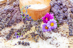 Composition from lavender and sea salt. On the mat Royalty Free Stock Photo