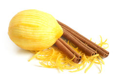 The composition of lemon and cinnamon stock images
