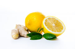 composition of lemon ginger and mint leaves Royalty Free Stock Photo