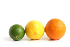 The composition of lemon, lime and orange stock image