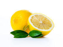 composition of lemon and mint leaves Stock Photos