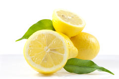 Composition of lemons fruits. Composition of lemons with green leaves Royalty Free Stock Photos