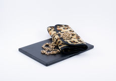 Composition leopard bag and golden chain Stock Photography