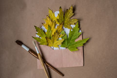 Composition with a letter and yellow maple leaves Stock Image