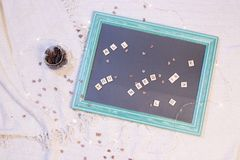Composition of letters and other small articles about love and relationships royalty free stock photo