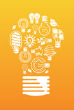 Composition with light bulb silhouettes. Stock Photo
