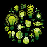 Composition with light bulb silhouettes. Royalty Free Stock Photo
