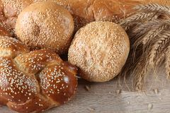 Composition with loaves of bread and rolls royalty free stock photos