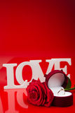 Composition of love white words and rose Royalty Free Stock Photography