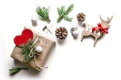 Composition lumineuse en Noël Option d'emballage cadeau Fond de Noël pour la présentation du travail ou du texte Photographie stock libre de droits