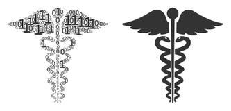 Composition médicale d'emblème de caducée des éléments binaires illustration libre de droits