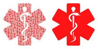 Composition médicale d'emblème des éléments binaires illustration de vecteur