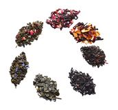 Composition made of different types of dry tea on white background royalty free stock image