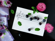 Composition made of plums related with the topic of music. Composition made of flowers, plums, mint, shawl and stave related with the topic of music royalty free stock photography