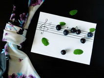 Composition made of plums related with the topic of music. Composition made of flowers, plums, mint, shawl and stave related with the topic of music stock photo