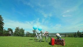 Composition made up of the bike, a globe stock footage