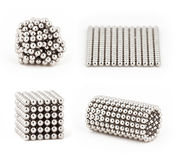 Composition from magnetic metal balls, from chaos to ideal shape Stock Image