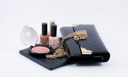 Composition make up accessories and a bag Stock Image