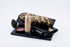 Composition make up accessories and a bag Royalty Free Stock Photography