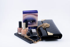 Composition make up accessories and a bag Royalty Free Stock Photo