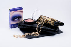 Composition make up accessories and a bag Stock Photography