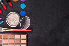 Composition of makeup tools stock images