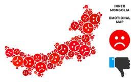 Composition malheureuse de carte de l'Inner Mongolia de Chinois de vecteur des smiley tristes illustration de vecteur