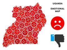 Composition malheureuse de carte de l'Ouganda de vecteur d'Emojis triste illustration de vecteur
