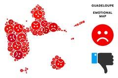 Composition malheureuse de carte de la Guadeloupe de vecteur des smiley tristes illustration libre de droits